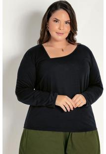 Blusa Preta Com Decote Assimétrico Plus Size