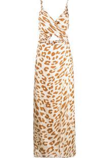 Nanushka Vestido Com Recorte Vazado E Estampa De Leopardo - Neutro