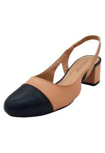 Sapato Scarpin Aberto Feminino Bico Redondo Salto Médio Moda 975.67591 Renata Mello Lançamento