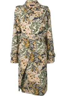 Rokh Trench Coat Floral - Azul