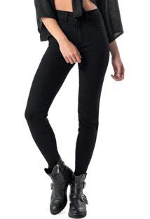 Calça Preta Skinny Em Jeans Black Com Lavagem