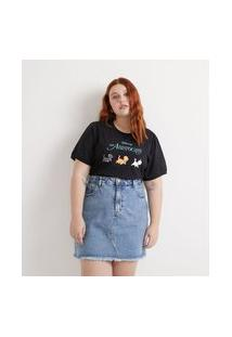 Camiseta Algodão Estampada Aristocats Curve & Plus Size Preto