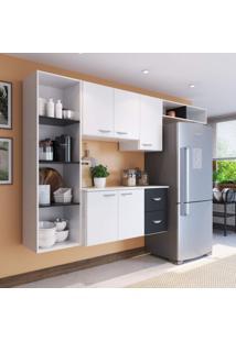 Cozinha Compacta 4 Peças 5 Portas Anabela Siena Móveis Branco/Preto