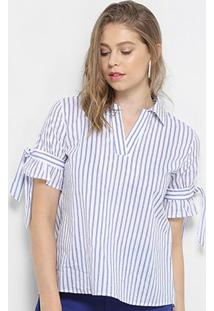 Blusa Lily Fashion 3/4 Estampa Listrada Feminina - Feminino-Azul