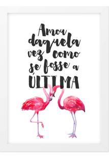 Quadro Adoraria A4 Flamingo Branco