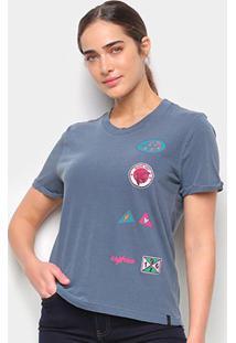 Camiseta T-Shirt Cantão Slim Patches Feminina - Feminino-Azul