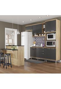 Cozinha Compacta 11 Portas 3 Gavetas Sicilia 5843 Premium Argila/Grafite - Multimóveis