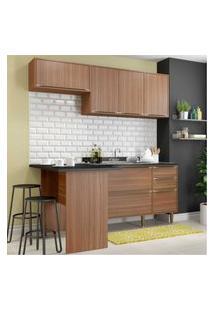 Cozinha Compacta Multimóveis Com 4 Peças Calábria 5460 Nogueira Marrom