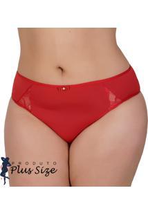 Kit 4 Calcinhas Dily Plus Size Com Detalhe Em Renda Vermelho