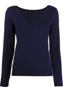 P.A.R.O.S.H. Suéter Canelado Com Decote Em V - Azul