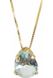 Pingente Kumbayá Gota Banho De Ouro 18K Cristal Azul Safira Com Corrente Veneziana