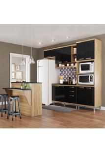 Cozinha Compacta Com Tampo 11 Portas 3 Gavetas 5844 Argila/Preto - Multimóveis