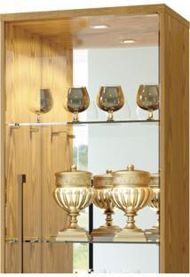 Cristaleira 1 Porta De Vidro 3 Prateleiras Safira Plus Mavaular Carvalho Ouro