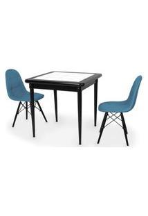 Conjunto Mesa De Jantar Em Madeira Preto Prime Com Azulejo + 2 Cadeiras Botonê - Turquesa