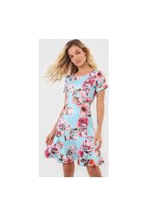 Vestido Lança Perfume Curto Sino Azul/Rosa