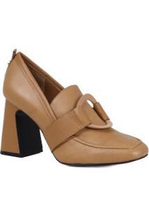 Sapato Jorge Bischoff Scarpin Loafer Salto Grosso Em Couro