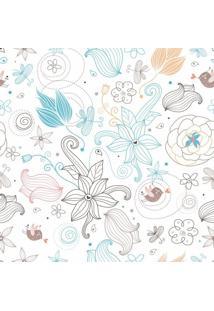 Papel De Parede Adesivo Floral Fino Branco (0,58M X 2,50M)
