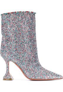 Amina Muaddi Ankle Boot Com Efeito De Brilho - Metálico