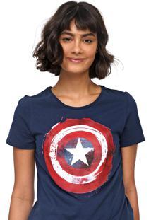 Blusa Cativa Marvel Capitão América Azul-Marinho