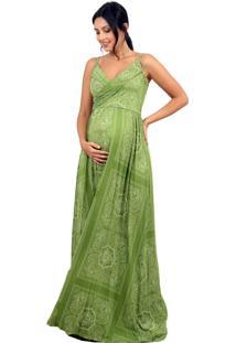 Vestido Gestante Estampado Amamentação Tribo Diná Lenço Verde