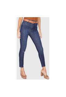 Calça Cropped Jeans Lança Perfume Skinny Pespontos Azul