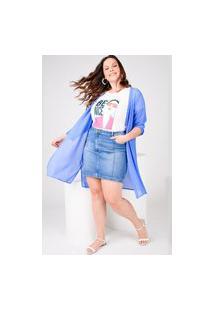 Saia Curta Almaria Plus Size Rery Jeans Azul
