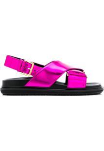 Marni Sandália Com Tiras Cruzadas - Rosa