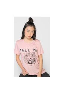 Camiseta Colcci Tigre Rosa