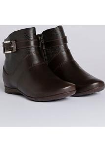 Bota Ankle Boot Feminina Comfortflex Marrom Escuro