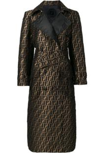 Fendi Ff Motif Trench Coat - Marrom