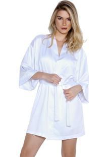 Robe Inspirate De Cetim Feminino - Feminino-Off White