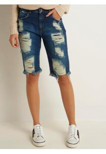 Bermuda Le Lis Blanc Soraia Jeans Azul Feminina (Jeans Escuro, 36)