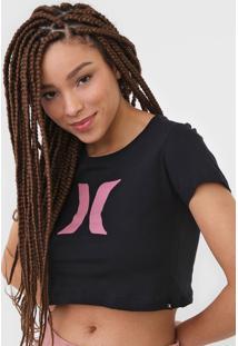 Camiseta Cropped Hurley Icon Preta - Kanui