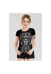 Camiseta Stompy Estampada Feminina Modelo 7 Preta