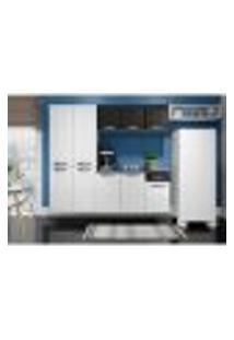 Cozinha Compacta Rubi Com Balcão Suspenso 10 Pt 1 Gv Branca E Preta
