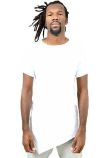 Camiseta Assimétrica Lisa Masculina - Masculino