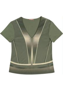 Blusa Manga Curta Estampada Verde