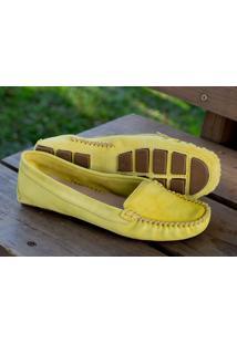 Mocassim Dm Extra Couro Camurça Amarelo Dme1791133731 Numeração Especial Tamanhos Grandes 41 42