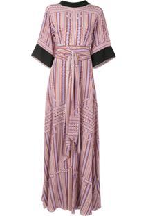 Amanda Wakeley Vestido Longo De Seda Com Amarração Na Cintura - Roxo