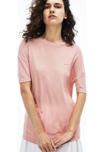 Camiseta Lacoste Em Raiom Com Decote Amplo Feminina - Feminino-Rosa Claro