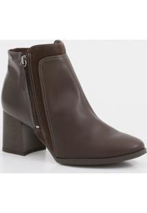Bota Feminina Ankle Boot Recorte Textura Dakota