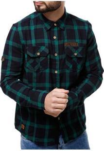 Camisa Flanela Manga Longa Masculina Gangster Verde