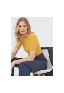 Blusa Tricot Facinelli By Mooncity Textura Amarela