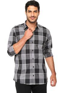 Camisa Polo Wear Reta Xadrez Cinza/Preta