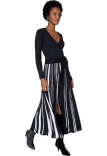 Vestido Transpassado Tricot Com Plissado