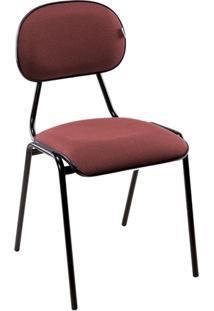 Cadeira Secretária Fixa Sem Braço - Bordô/ Preto - Móveis Belo