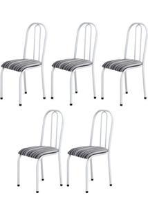 Cadeira Assento Anatomico 5 Peças 00104 Branco Listrado Archeli