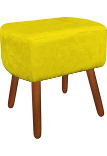 Puff Decorativo Curvo Agatha Suede Amarelo - D'Rossi