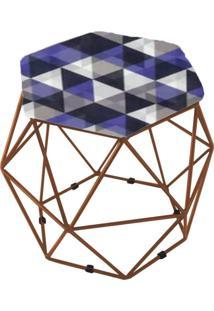 Puff Aramado Bronze Assento Hexagonal Suede Triângulo Roxo - Ds Móveis - Kanui