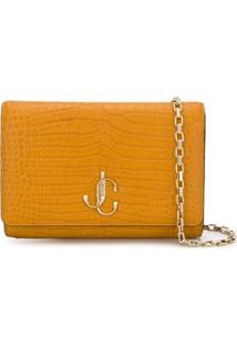 Jimmy Choo Varenne Crocodile-Embossed Clutch - Amarelo